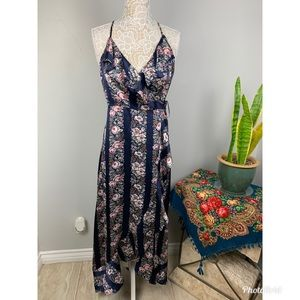 Flying Tomato navy Blue Floral print stripe wrap
